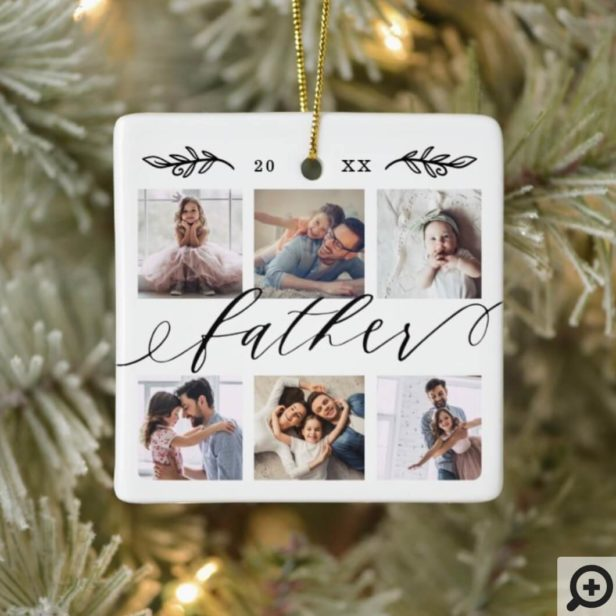 Gift for Father | Family Keepsake Photo Collage Ceramic Ornament