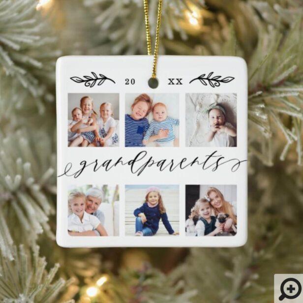 Gift for Grandparents Grandchildren Photo Collage Ceramic Ornament