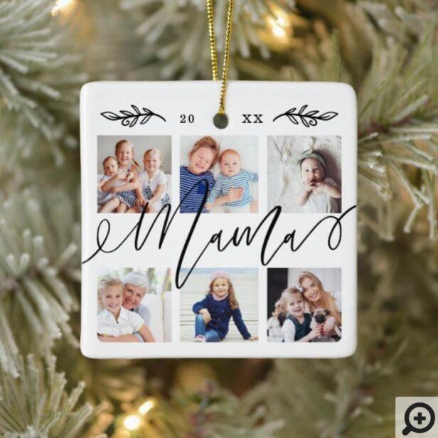 Gift for Mama | Grandchildren Photo Collage Ceramic Ornament