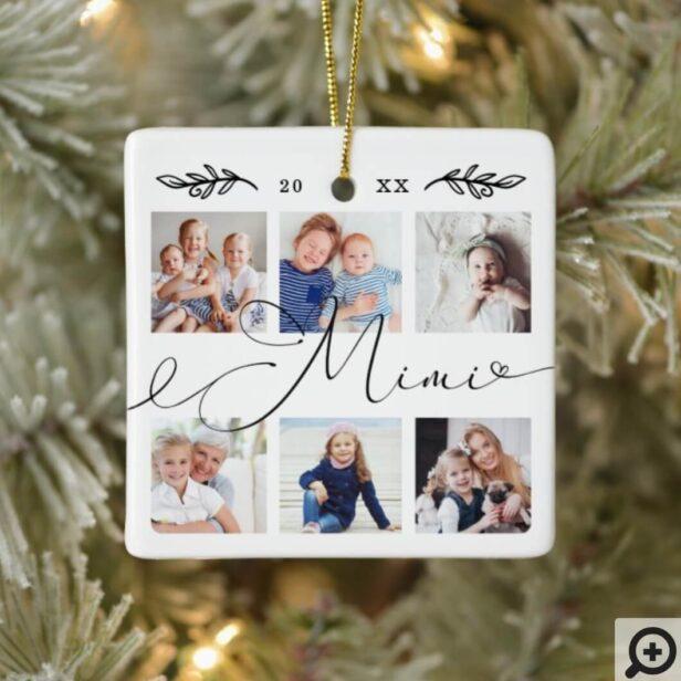 Gift for Mimi | Grandchildren Photo Collage Ceramic Ornament