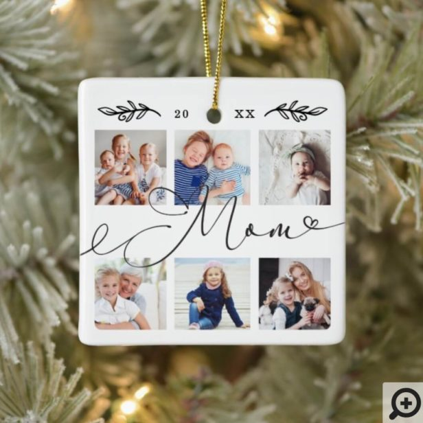 Gift for Mom | Grandchildren Photo Collage Ceramic Ornament