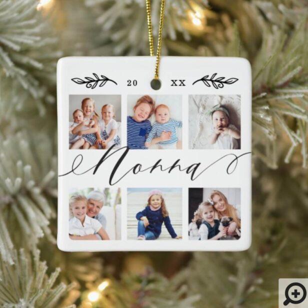 Gift for Nonna | Grandchildren Photo Collage Ceramic Ornament