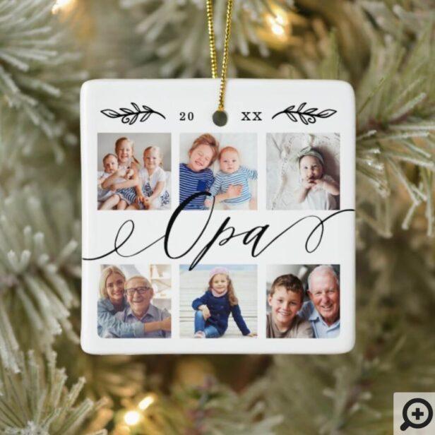 Gift for Opa | Grandchildren Photo Collage Ceramic Ornament