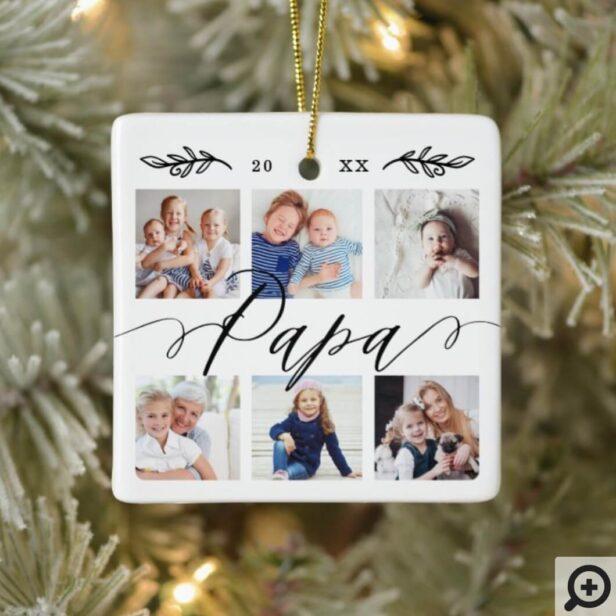 Gift for Papa | Grandchildren Photo Collage Ceramic Ornament