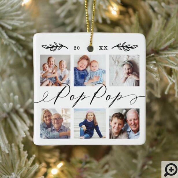 Gift for Pop Pop | Grandchildren Photo Collage Ceramic Ornament