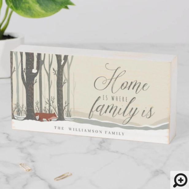 Home Is Where Family is Woodland Winter Forest Fox Wooden Box Sign