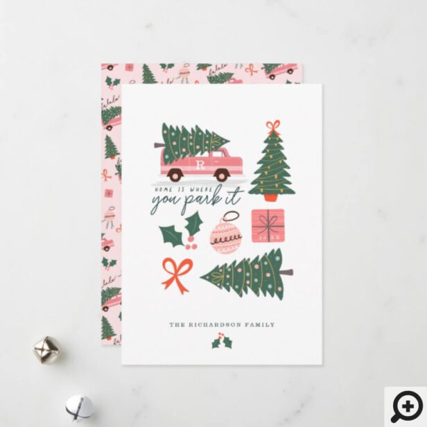 Home Is Where You Park It Pink Van Christmas Tree Holiday Card