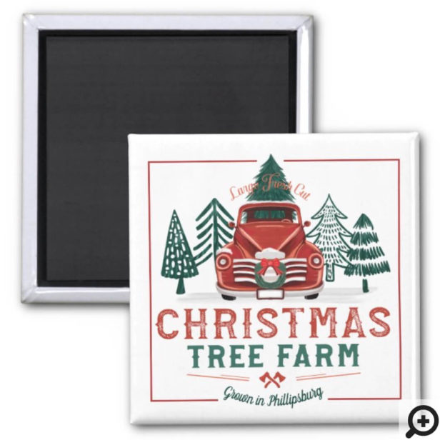 Large Fresh Christmas Tree Farm Vintage Truck Magnet