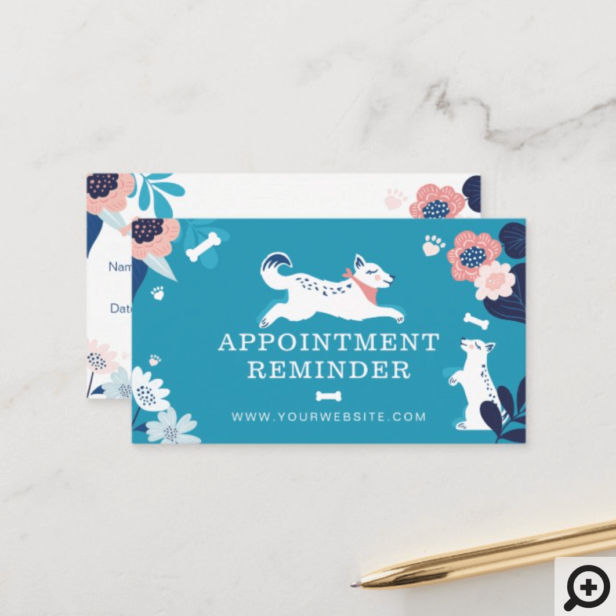 Leaping Dog Floral Pet Care Services Blue Appointment Card