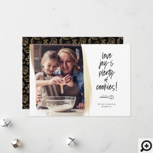 Love Joy & Plenty of Cookies Family Baking Photo Holiday Card