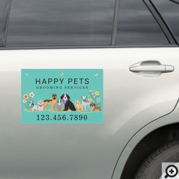 Loveable Happy Pet Family Pet Care, Grooming Teal Car Magnet