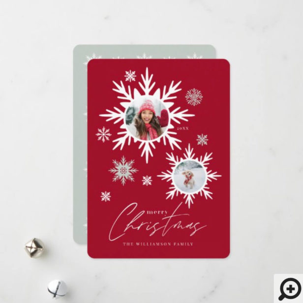 Merry Christmas Red Winter Snowflakes Family Photo Holiday Card