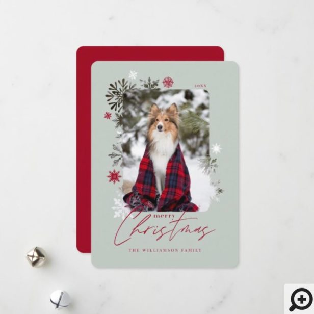 Merry Christmas Winter Snowflakes Family Photo Holiday Card