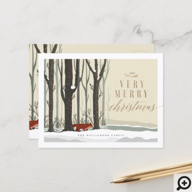 Merry Christmas Woodland Winter Forest Fox Holiday Postcard