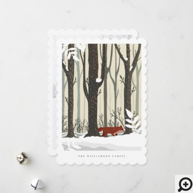 Merry Christmas Woodland Winter Forest Fox Photo Holiday Card