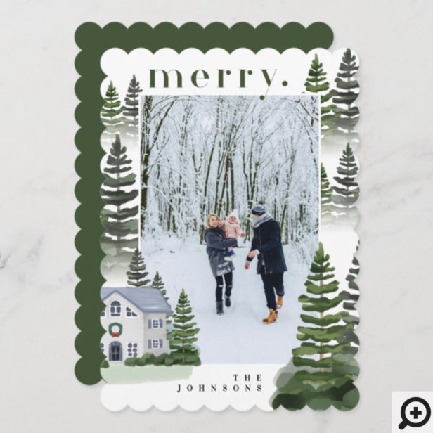 Merry Winter Evergreen Forest Family Home Photo Holiday Card