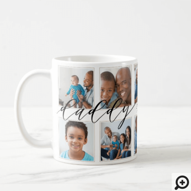 Modern Daddy Script Gift For fathers Photo Collage Coffee Mug