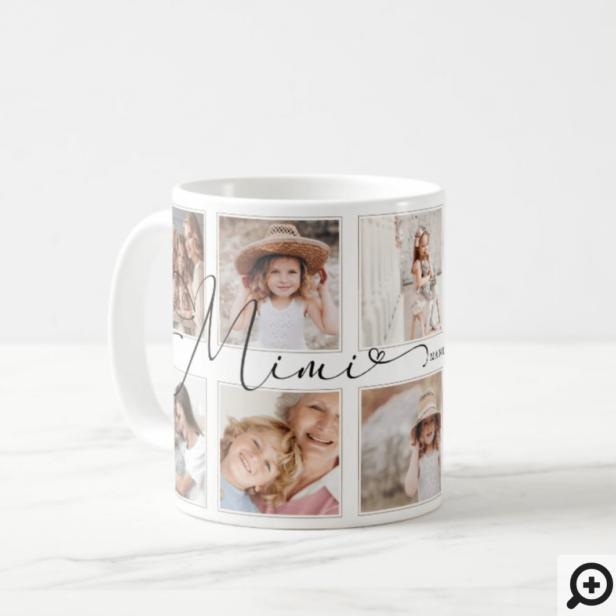 Modern Mimi Script | Grandchildren Photo Collage Coffee Mug