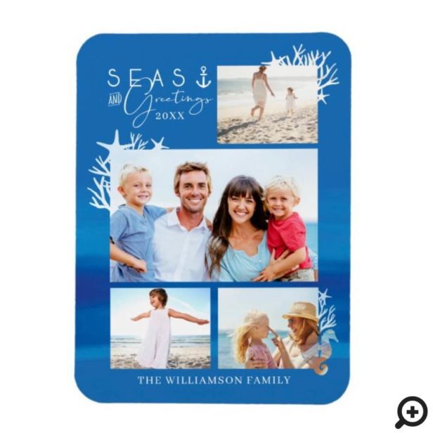 Nautical Blue Seas & Greetings Ocean Photo Frame Magnet