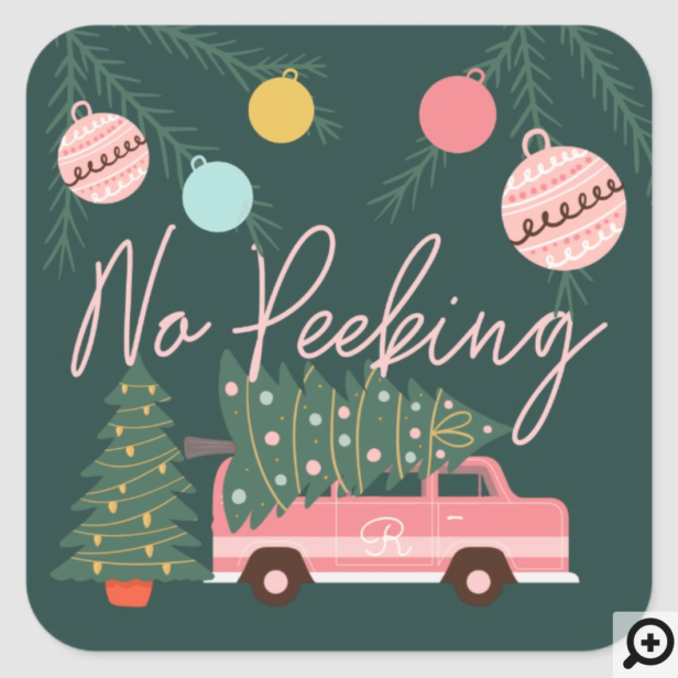 No Peeking Vintage Pink Christmas Van Green Square Square Sticker