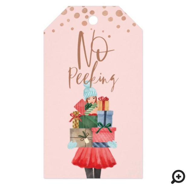 No Peeking Watercolor Girl Christmas Presents Gift Tags