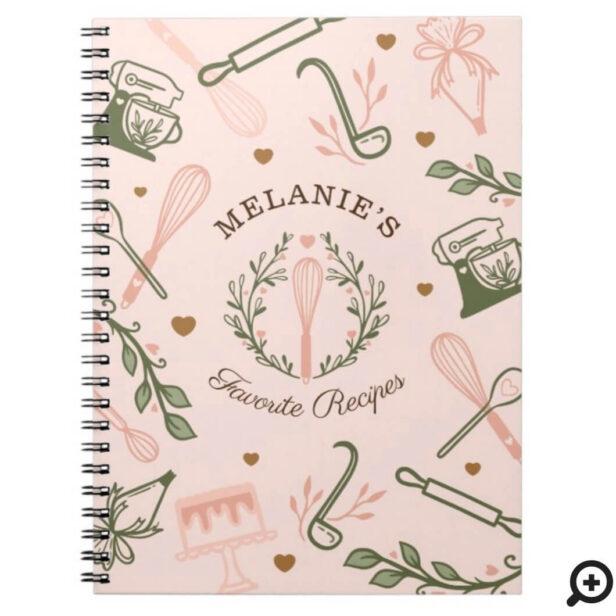 Pink & Olive Green Baking & Cooking Utensil Recipe Notebook