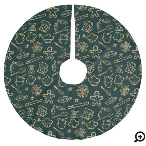 Shimmering Gold & Green Christmas Baking Pattern Brushed Polyester Tree Skirt