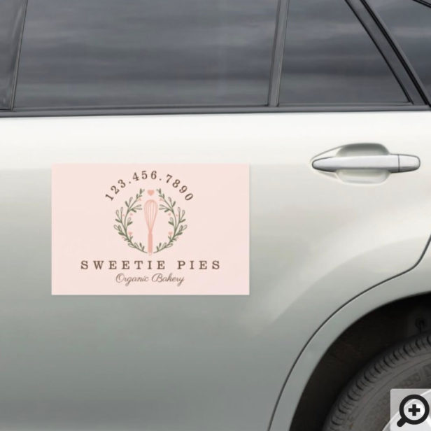 Simple, Clean & Minimal Style Bakery Whisk Logo Car Magnet