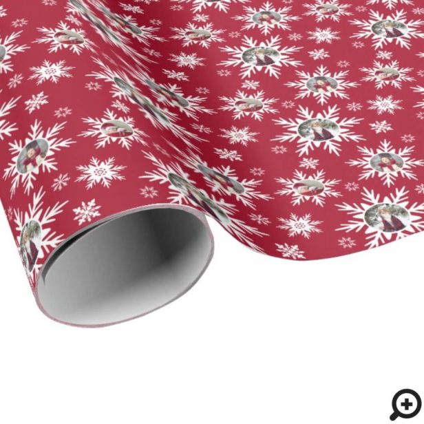 Winter Snowflake Red & White Pattern Family Photo Wrapping Paper
