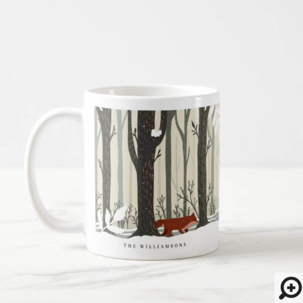 Woodland Winter Wonderland Forest Fox Joy Coffee Mug
