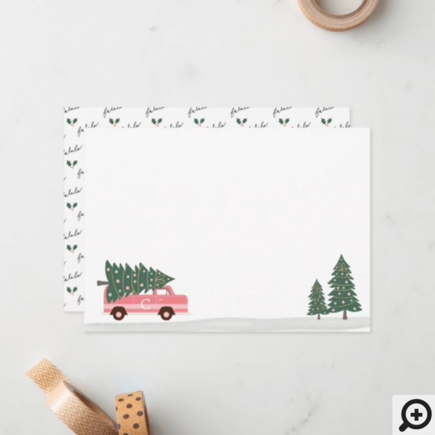 Fa La La Christmas Tree Pink Vintage Van To & From Note Card