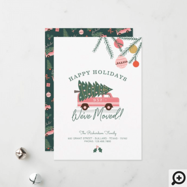 Happy Holidays We've Moved Pink Van Christmas Tree Holiday Card