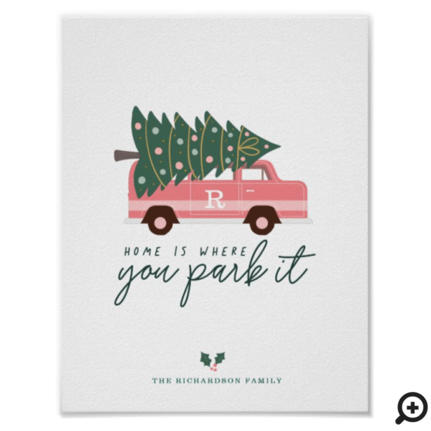 Home Is Where You Park It Pink Van Christmas Tree Poster