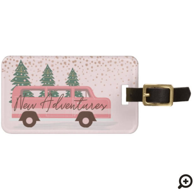New Adventures Pink Retro Vintage Van Luggage Tag