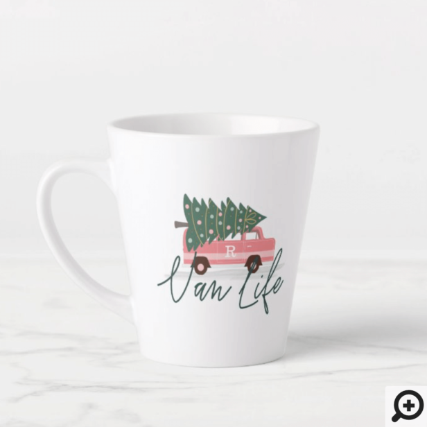 Van Life Girly Pink Vintage Van Christmas Tree Latte Mug