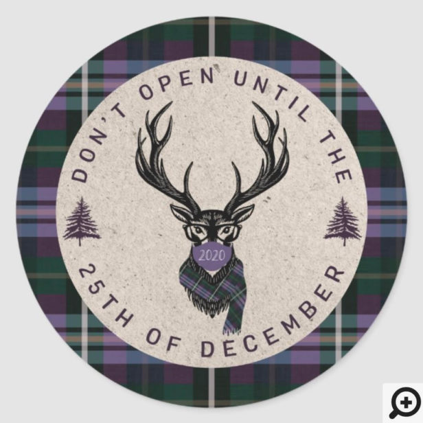 Don't Open Until Christmas Plaid Reindeer Mask Purple Plaid Classic Round Sticker