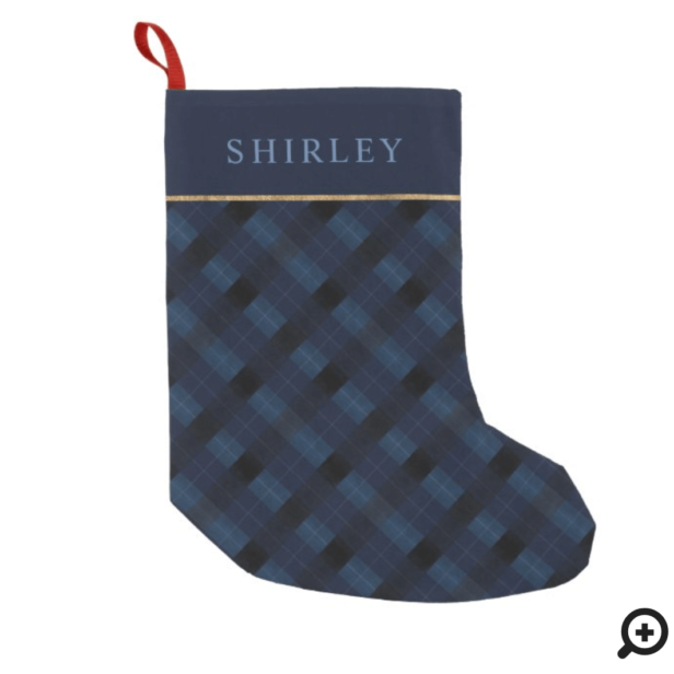 Elegant Festive Watercolor Navy Blue Plaid & Gold Small Christmas Stocking