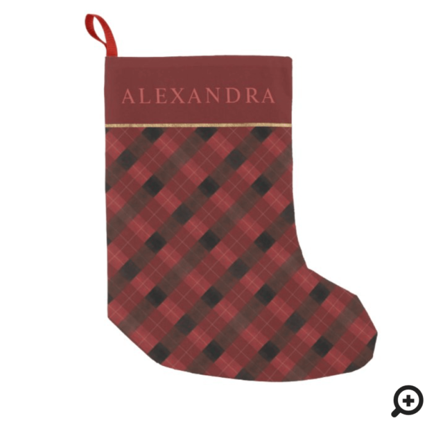 Elegant Festive Watercolor Red Plaid & Gold Small Christmas Stocking