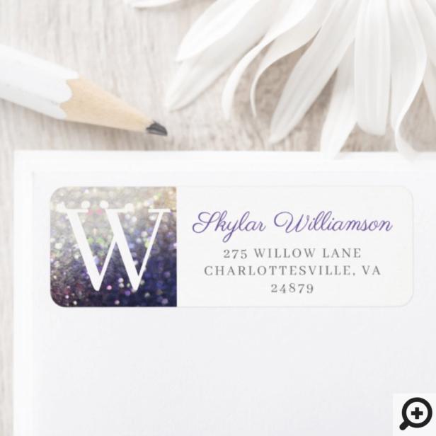 Elegant Violet & Champagne Glitter Monogram Label