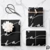 FA LA LA Black & White Calligraphy Christmas Carol Wrapping Paper Sheets