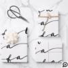 FA LA LA White & Black Calligraphy Christmas Carol Wrapping Paper Sheets