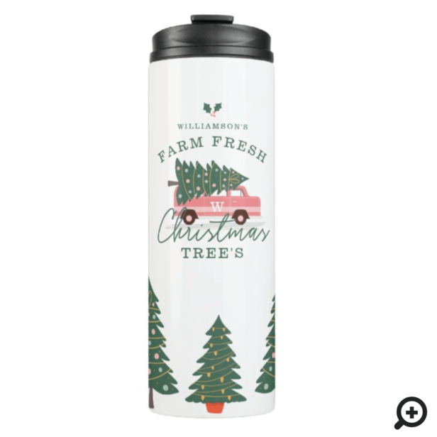 Festive Christmas Tree Farm Vintage1 Retro Pink Van Thermal Tumbler
