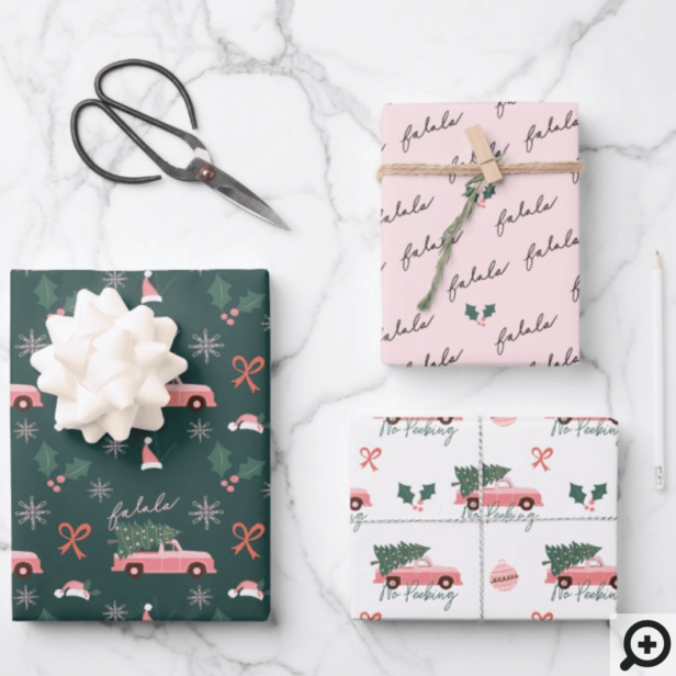 Festive Fala Christmas Tree Vintage Pink Truck Wrapping Paper Sheets