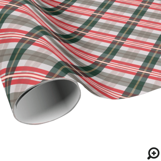 Festive Stylish Candy Cane Red Green Plaid Pattern Wrapping Paper