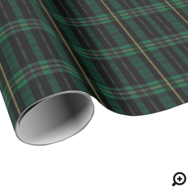 Festive Stylish Dark Forest Green Plaid Pattern Wrapping Paper