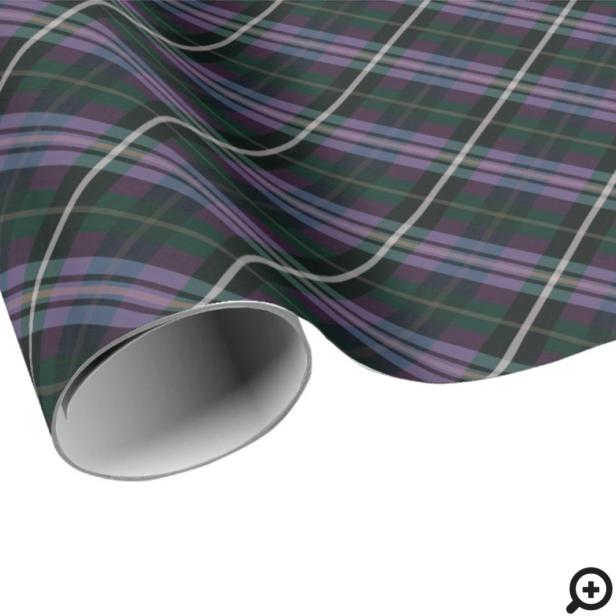 Festive Stylish Dark Purple & Green Plaid Pattern Wrapping Paper