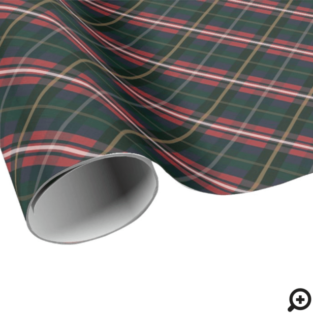 Festive Stylish Dark Red & Green Plaid Pattern Wrapping Paper