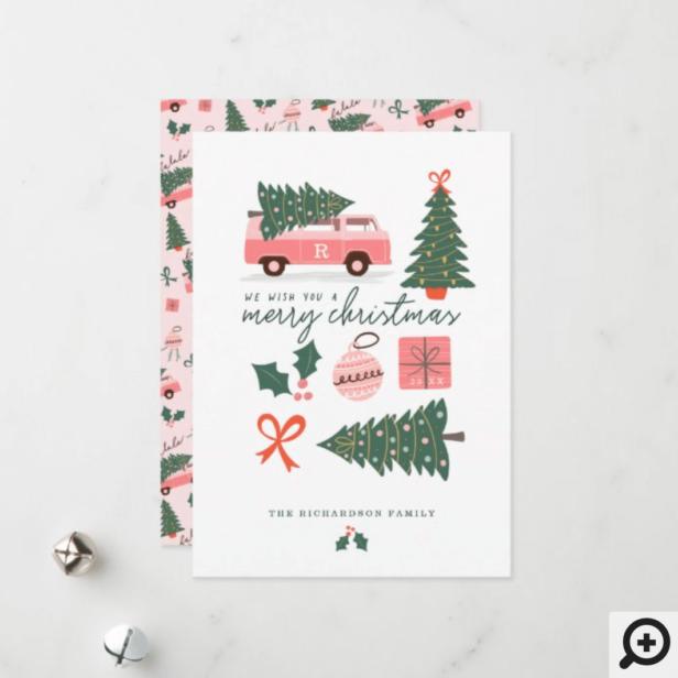 Merry Christmas Pink Retro Van Christmas Tree Holiday Card