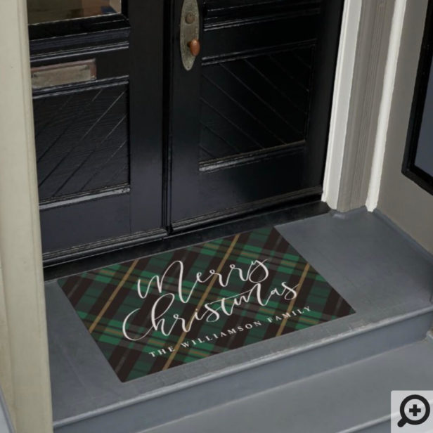 Merry Christmas Script Green Plaid Family Name Doormat