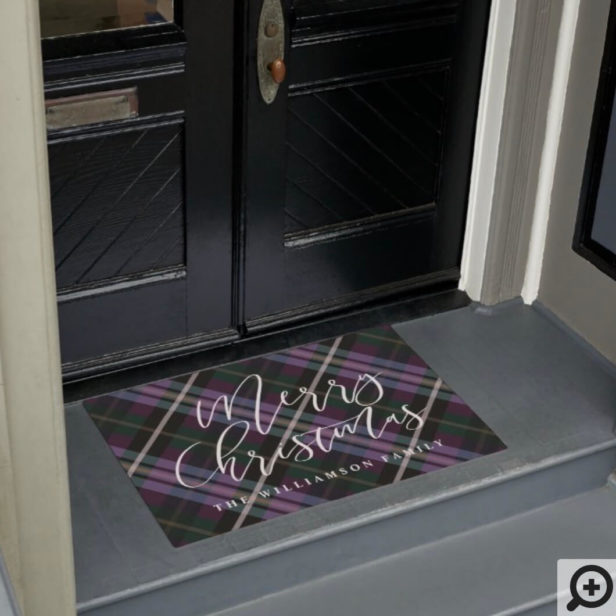 Merry Christmas Script Purple Plaid Family Name Doormat